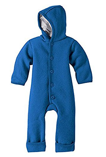 (DISANA 100% ORGANIC BOILED WOOL OVERALL ROMPER HOODED NEWBORN/BABY MADE IN GERMANY (12-24 months, Blue))