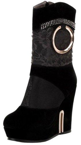 Mesh Women's 2460 Sexy Black boots easyfashion Ladies nqI7xq5