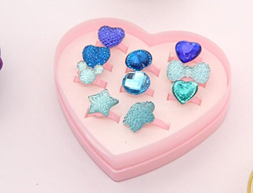 Zhahender Little Girls Accessory Jewellery Toy Ten Pcs/Set New Children's Ring Boutique Love Gift Box Ring (Lake Blue,Gypsophila Ring) by Zhahender