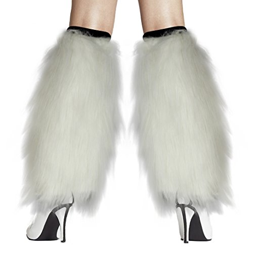 [Women's Furry Fuzzy Leg Warmers Costume - Play Kreative TM (White)] (Viking Outfits For Adults)