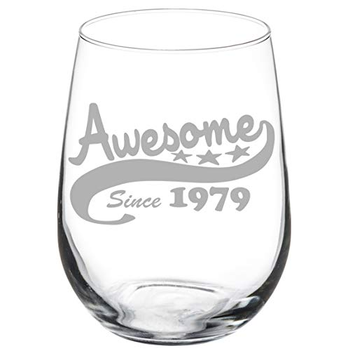 (Wine Glass Goblet Funny 40th Birthday Awesome Since 1979 (17 oz Stemless))