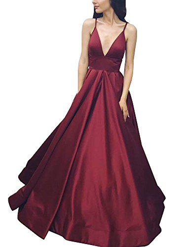 (Yangprom Long Spaghetti Straps Ball Gown Satin Prom Dresses with Pockets 14, Burgundy )