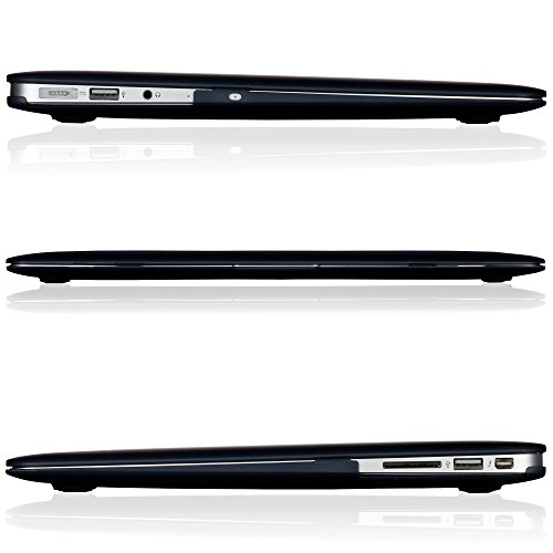 """Kuzy - AIR 13-inch BLACK Rubberized Hard Case for MacBook Air 13.3"""" (A1466 & A1369) (NEWEST VERSION) Shell Cover - BLACK"""