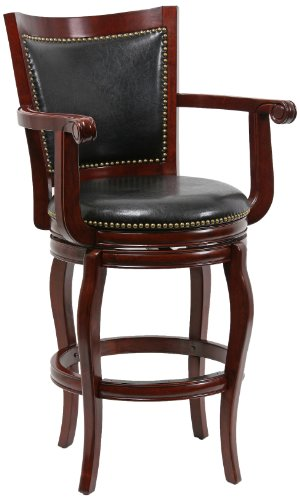 Boraam 52129 Jones Bar Height Memory Swivel Stool, 29-Inch, Cherry