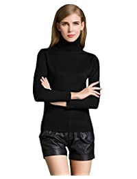 Romacci Women Sweater Knitwear Turtle Neck Long Sleeves Ribbed Knitted Pullover Tops