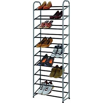 tidy living 10 tier space saving 30 pair shoe rack silver