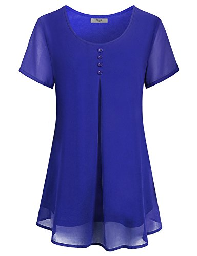 Cestyle Office Blouses for Women,2018 Fashion Wear Spirng Casual Basic Cute Shirts Lightweight Chiffon Tunic Tops Work Clothes Royal Blue X-Large