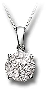 Liali 18K White Gold Diamond Pendant in 3 Carat Look [NBM1001-RPN2]