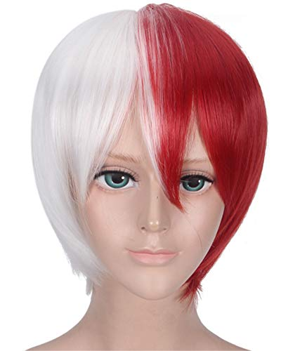 Half Silver White Half Red Cosplay Wig for Shoto Todoroki, Halloween Costume play Wig with Free Hair Cap- wig026