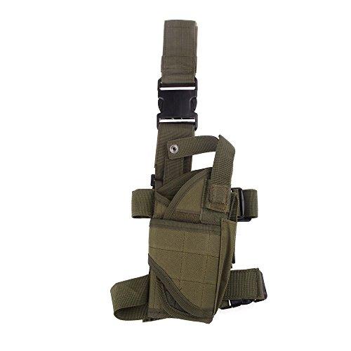 (Geelyda Tactical Pistol Thigh Gun Holster, Adjustable Drop Leg Holster, Right Thigh Handgun Nylon Gun Pouch fit (Green))