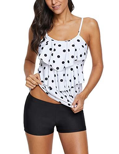 Women 2 Piece Flounce Polka Dot Swimsuit Tankini Set Printed Bathing Suits Tank Top with Boyshorts Bottoms Polka Dots 10-12