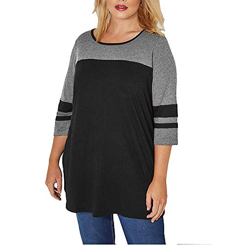 Women's 3/4 Sleeve Striped T-Shirt Color Block Plus Size Tops Tunic Blouse ()