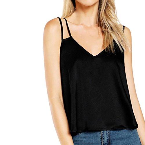 Black maniche con Caraco scollo Silk senza Vest Tank Angelof Top shirt Full Donna Black Blouse a V T senza spalline tIwFvpFq
