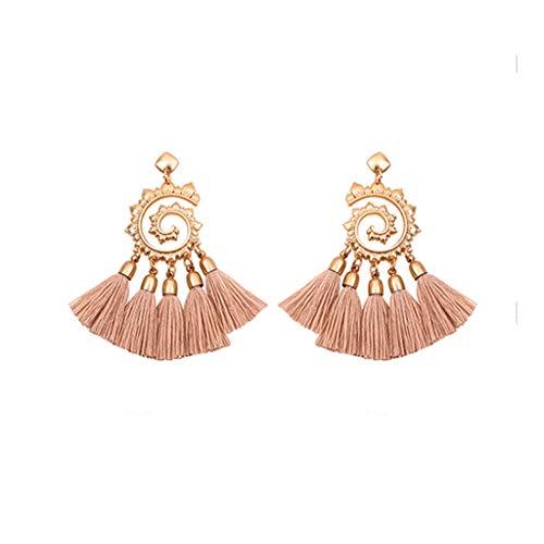 Tassel Earrings Vintage Bohemian Metal Sun Flower Pendant Earrings Ladies Jewelry
