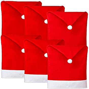 """21/"""" x 20 Red Santa Hat Christmas Chair Covers ~Set of 4 Brand New"""