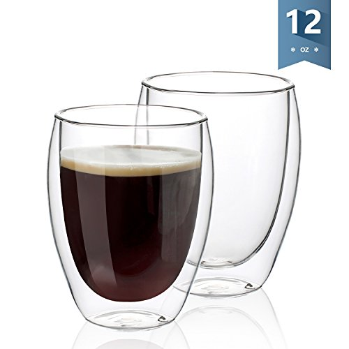 Sweese Handless Coffee Mugs - Double Insulated Wall Glasses - 12 Ounces, Set of 2