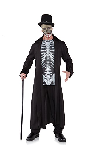 Bone Daddy Child Costumes - Underwraps Men's Plus-Size Skull Master, Black/Grey/White,