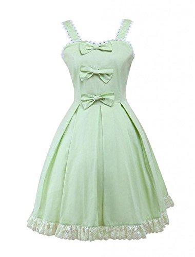 (Ainclu Womens Sleeveless Bow Cotton Sweet Lolita Dress Green)