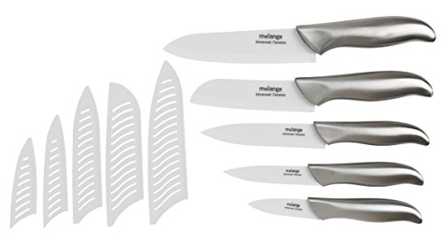 Melange 11-Piece Ceramic Knife Set with Steel Handle and White Blade
