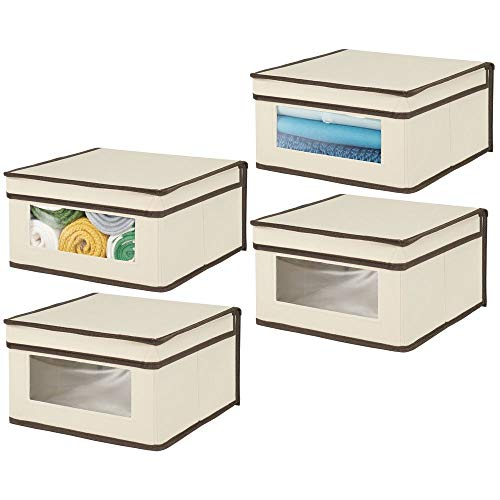 Attached Sweater - mDesign Soft Stackable Fabric Closet Storage Organizer Holder Bin with Clear Window, Attached Hinged Lid - for Bedroom, Hallway, Entryway, Bathroom - Medium, 4 Pack - Cream/Espresso Brown