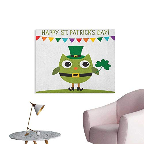 Anzhutwelve St. Patricks Day Wall Picture Decoration Owl with Leprechaun Costume Greeting Design for Party Shamrock Pattern Custom Poster Multicolor W36 xL24]()