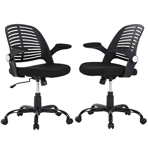 Computer Ergonomic Chair, Heavy Duty Metal Base Desk Chairs, Executive Adjustable Swivel Rolling Chair with Arms Lumbar Support Task Home Office Chair for Women, Men (Black, Set of 2)