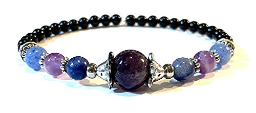 Handmade Amethyst, Blue Adventurine and Black Onyx Healing Bracelet 7 Inches