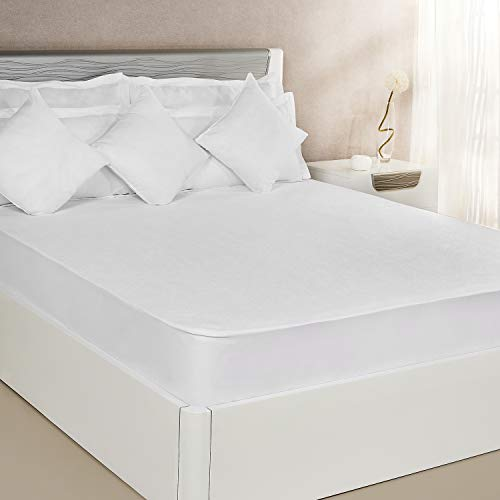 Amazon Brand – Solimo Waterproof Terry Cotton Mattress Protector, 78×72 inches, King Size (White)