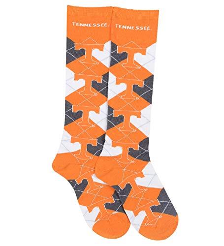 (For Bare Feet NCAA Repeat Logo Argyle Knee High Socks-Medium-Tennessee)