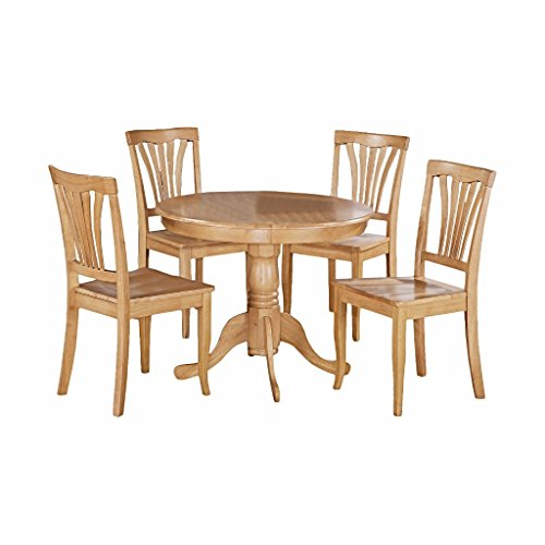 5 Piece Dining Set From Rubber Wood In Waterproof Finish With 1 Table 4 Chairs plus FREE GIFT (Oak)