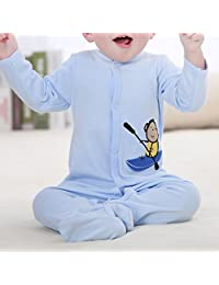 M-Egal Newborn Boy's Blue Babys Cotton Footed Sleeper Pajamas Long Sleeved One Piece Garment 0-3 months