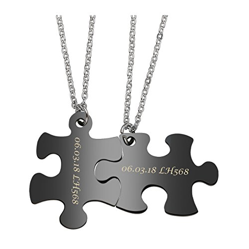- Jovivi Free Engraving - Personalized Custom 2pcs Stainless Steel Jigsaw Matching Puzzle Piece Couple Pendant Necklaces for His and Her