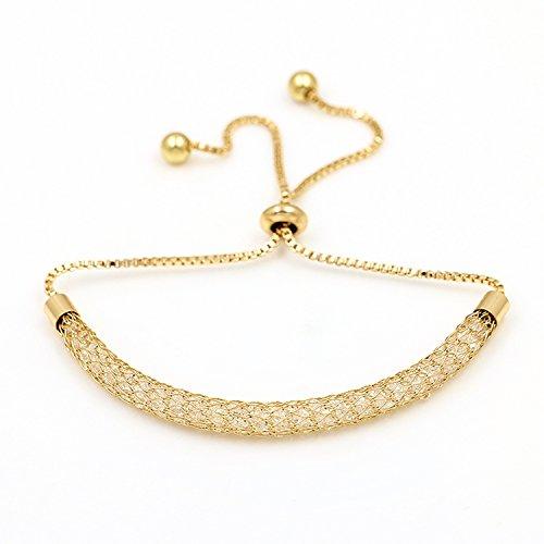 (Bezel Setting Tiny Cubic Zirconia Zircon Crystal Adjustable Bracelets For Women,Champagne Gold)