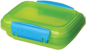 contenitori per Alimenti con Clip a Contrasto Verde//Rosa//Blu 200/ml Sistema Lunch Confezione da 3