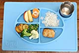 Kids Silicone Placemat + Plate. All-in-one Divider Dinnerware Plate and Sippy Cup Holder with Embossed Nutritional Guidelines - Color: Blue