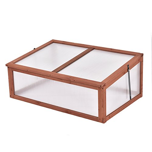 Giantex Garden Portable Wooden Green House Cold Frame Raised Plants Bed Protection (39.3