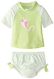 i play. Baby Girls\' Swim Set with Reusable Swim Diaper, Lime, 18 Months