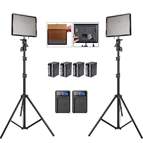 Aputure Amaran AL-528S AL-528W LED Video Light Panel LED Lighting Kit Light Stand Battery Pack Battery Charger-Pack of 2-Including PERGEAR Cleaning Kit