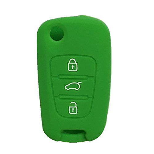 3 Button Remote Silicone - Green 3 Buttons Remote Skin Jacket Silicone Cover KEY Case Holder BAG Key Fob Skin Covers replacement fit KIA Sportage Optima Rio Soul