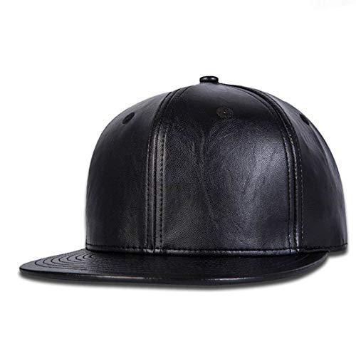 ALAMOS Stylish Black Leather Hip Hop Cap