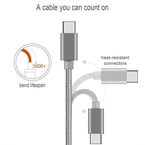 USB-Type-C-Cable-Extra-Long-Braided-Cord-USB-C-A-Charger-Cable-with-Reversible-Connector-for-ZTE-Zmax-Pro-Galaxy-S8-S8-Plus-LG-G6V20-Google-Pixel-XL-1ft-3ft-6ft-10ft-Grey