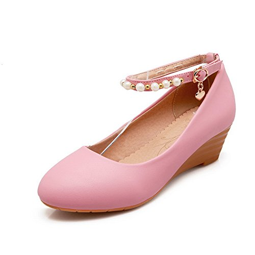 Balamasa Ladies Fibbia Zeppa Perline Pompe Di Uretano Rosa