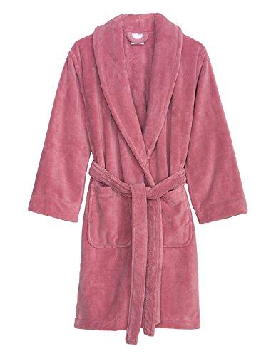 TowelSelections Women's Robe, Plush Fleece Short Spa Bathrobe Small Pink