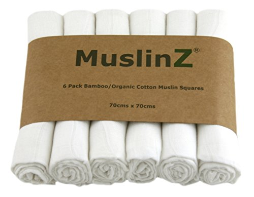 Muslinz Luxury Bamboo/Organic Cotton Muslin Squares (70 cm, White, Pack of...