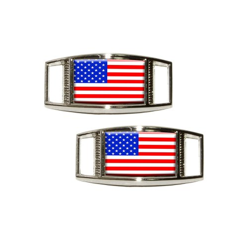 (American Flag - USA Shoe Sneaker Shoelace Charm Rectangular Decoration - Set of)