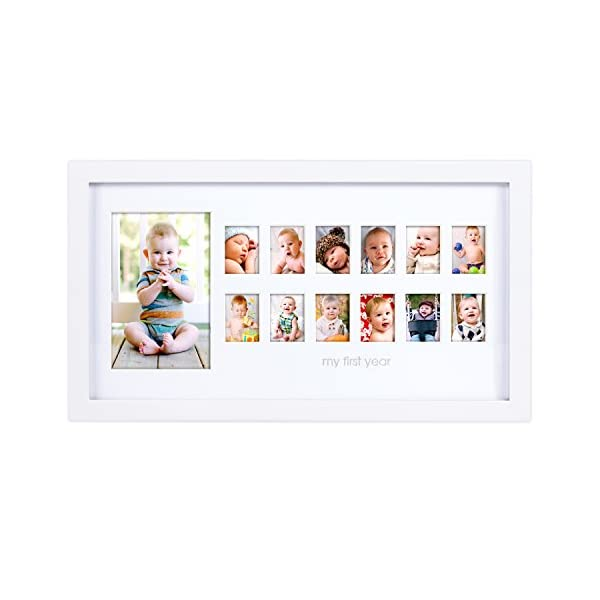 Pearhead My First Year Photo Moments Baby Keepsake Frame, Gift for Mom to Be or Expecting Parents, A Great Baby Registry Addition, White