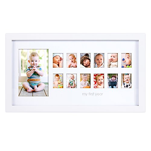 Pearhead My First Year Photo Moments Baby Keepsake Frame, Gift for Mom to Be or Expecting Parents, A Great Baby Registry Addition, White (God Frame Baby Boy)