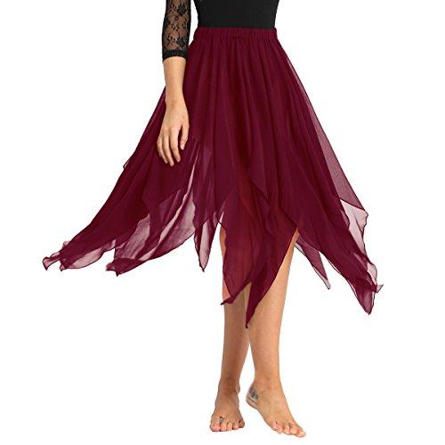 FEESHOW Womens Chiffon Hi-Low Long Dance Skirt