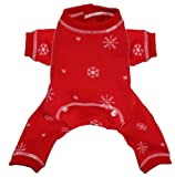 Hip Doggie Red Snowflake Longjohns, Large, My Pet Supplies