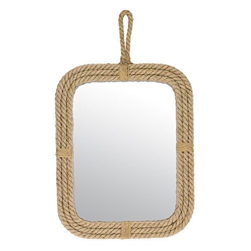 Stonebriar Vertical Rectangle Rope Mirror for Wall, Unique Country Décor - Cottage Vertical Mirror